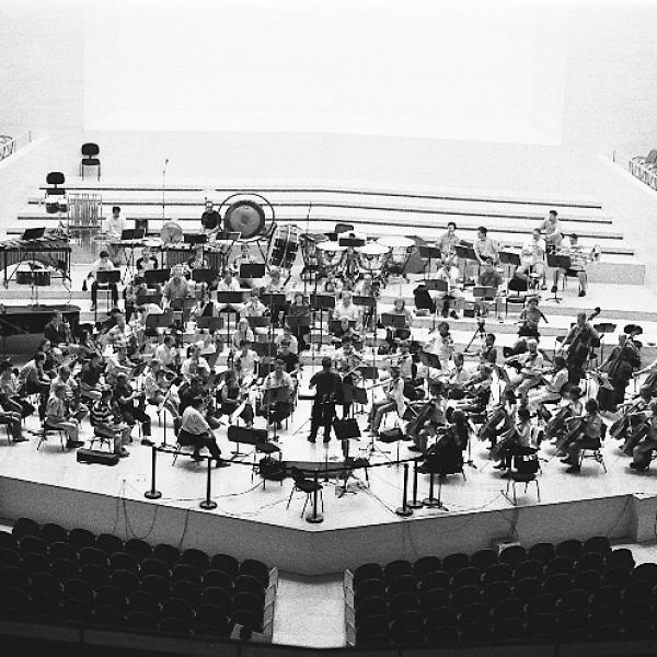 Conductor Jorge Mester and the Barcelona Symphony-National Orchestra of Catalonia.