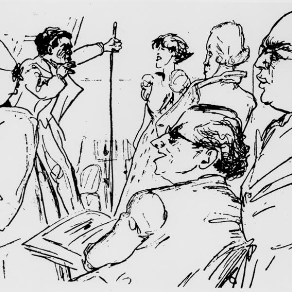 Kurt Weill's Eternal Road rehearsal sketch by Benedikt Doblin
